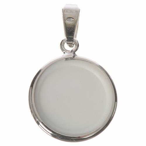 Médaille ronde argent 18mm St Pio s2