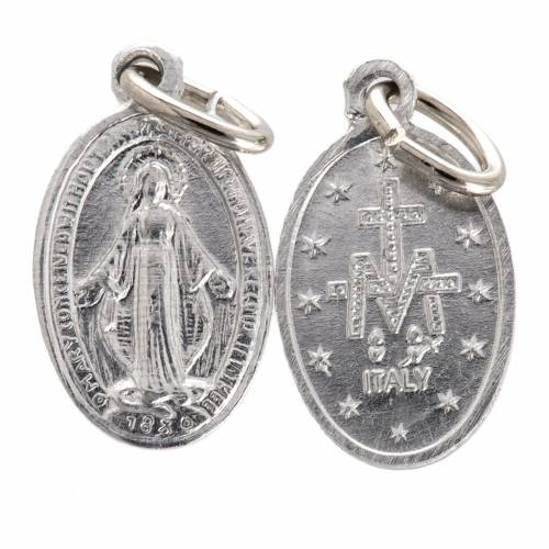 Médaille Vierge Miraculeuse aluminium argenté 10mm s1