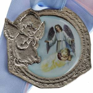 Medals and decorations for cradle: Medal, cradle decoration with double ribbon and baby