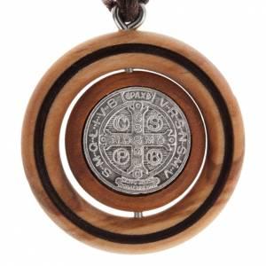 Pendants of various kind: Medal pendant Olive wood St Benedict
