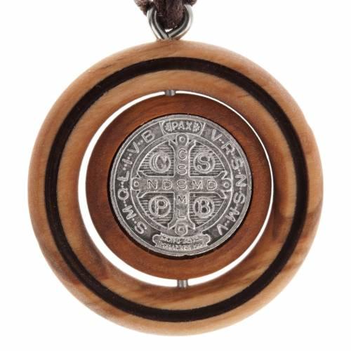 Medal pendant Olive wood St Benedict s2