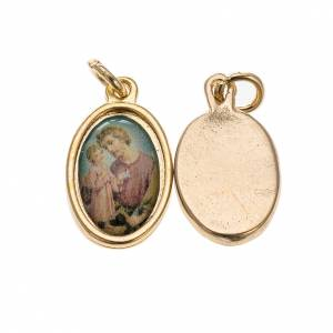 Medals: Medal, Saint Joseph in golden metal and resin 1.5x1cm