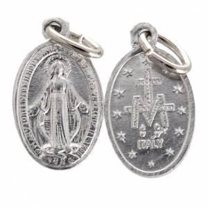 Medalla de la Virgen Milagrosa aluminio plateado 10mm s1