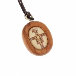 Colgantes Varios: Medalla en olivo con la imagen de la Cruz de San Damiano