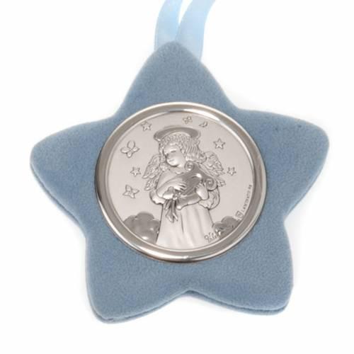 Medalla para cuna Ángel con lira forma estrella s2
