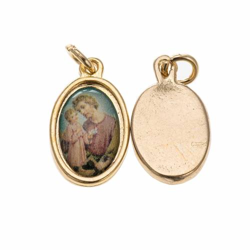 Medalla San José metal dorado resina 1,5x1cm s1