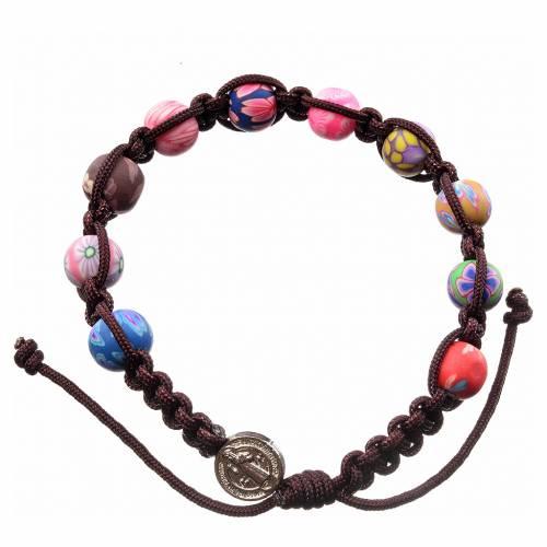 Medjugorje bracelet in fimo with dark brown cord s1