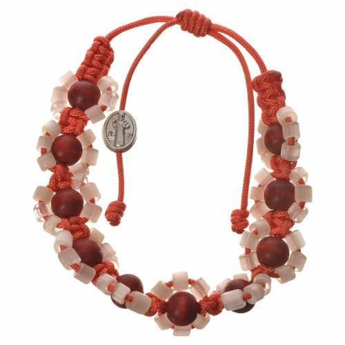 Medjugorje bracelet in Fimo with flowers, orange cord s1