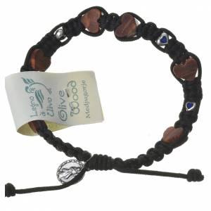 Medjugorje Bracelet, olive wood hearts black cord s2