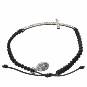 Medjugorje bracelet with black cord and Swarovski grains s2
