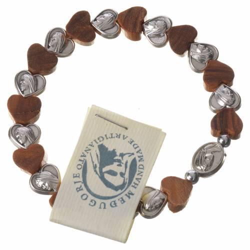 Medjugorje elastic bracelet, olive wood heart grains, metal s1