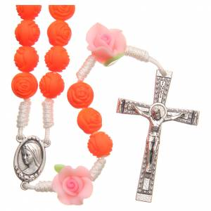 Rosaries and rosary holders: Medjugorje rosary beads with neon orange roses