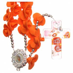 Rosaries and rosary holders: Medjugorje rosary beads with orange roses with cross in Murano glass
