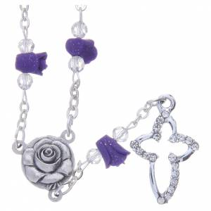 Rosaries and rosary holders: Medjugorje Rosary necklace, purple with ceramic roses and grains in crystal