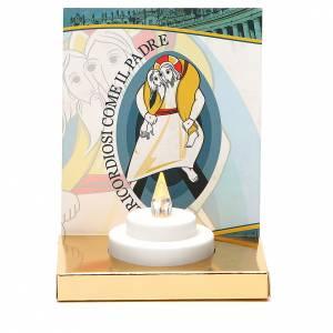 Velas votivas: Mini altar con vela eléctrica base oro imagen Jubileo