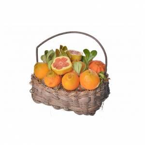 Mini panier oranges en cire pour crèche 10x7x8cm s3