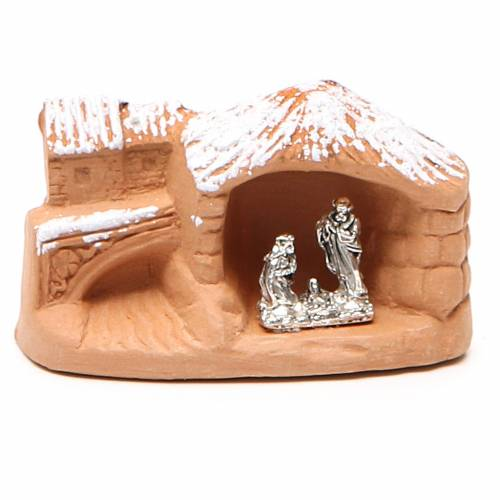Miniature Nativity terracotta with snow 5x7x4cm s1