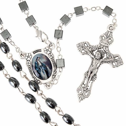 Miraculous Virgin hematite rosary s1