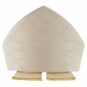 Articoli vescovili: Mitria bianca avorio lana seta Jacquard