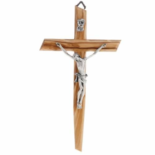 Modern crucifix in olive wood s1