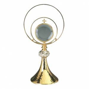 Monstrance, hammered brass and silver plate s1