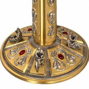 Monstrance in brass with figurines in bronze, with red stones s6