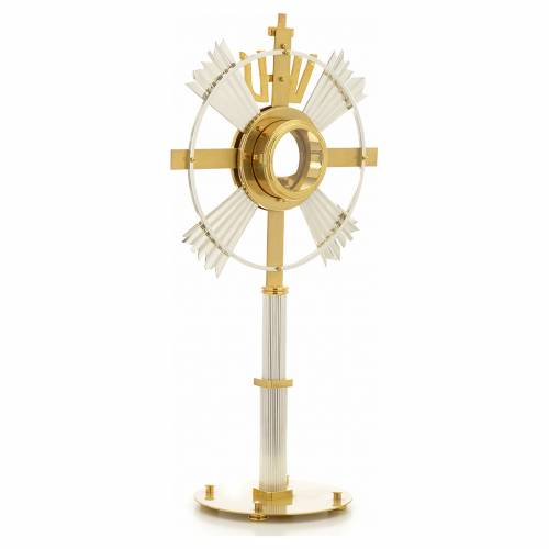 Monstrance in bronze with rays, IHS and stones s7