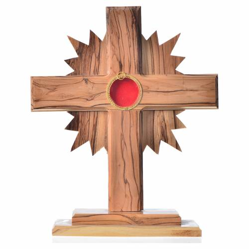 Monstrance in olive wood cross with rays, 20cm round 800 silver s1