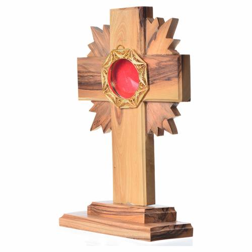 Monstrance in olive wood with rays, 15cm octagonal 800 silver di s2