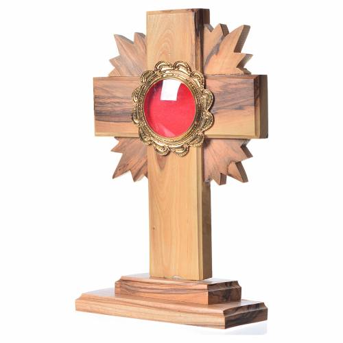 Monstrance in olive wood with rays H15cm, display in golden meta s2