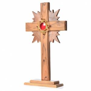 Monstrance in olive wood with rays H29cm, display 800 silver sto s2