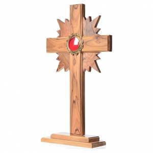 Monstrances, reliquaries in olive wood: Monstrance in olive wood with rays H29cm, display in golden meta