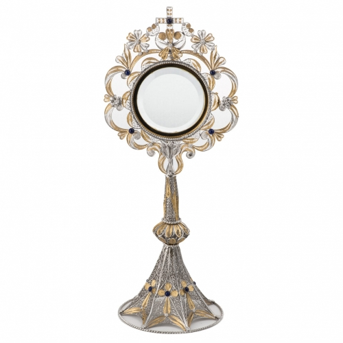 Monstrance in silver 800 filigree, removable pyx and lapis s3