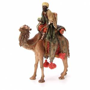 Moor Wise Man with small chest on camel 18cm Angela Tripi s1