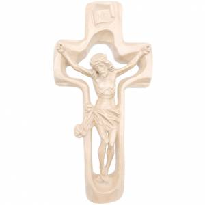 Wooden crucifixes: Moulded crucifix in natural wax Valgardena wood