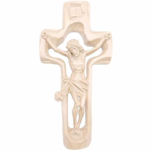 Moulded crucifix in natural wax Valgardena wood s1