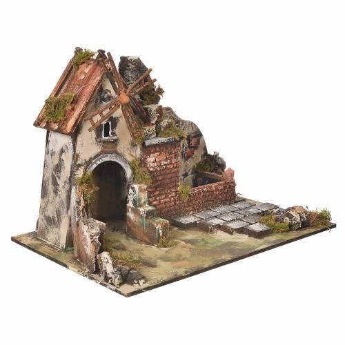Moulin à vent crèche avec abreuvoir 31x30x45 cm s2
