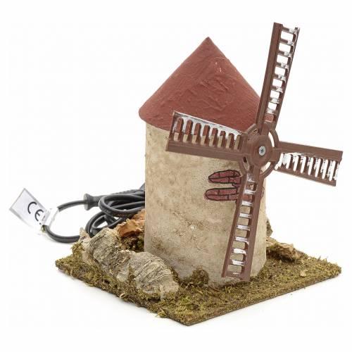 Moulin à vent en bois pour crèche 15x14x14 cm s2