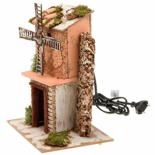 Moulin à vent pour crèche électrique bois e s2