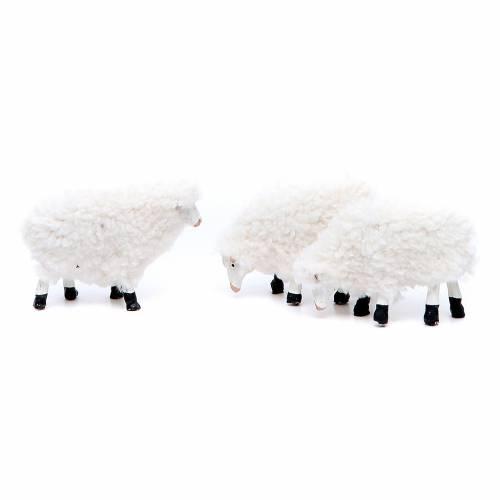 Moutons en résine et laine 8/10 cm 5 pcs s3