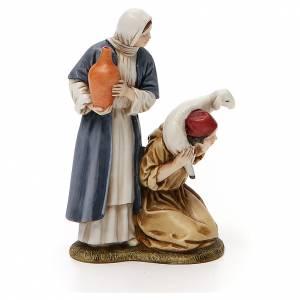 Figuras del Belén: Mujer con cántaro y pastor de rodillas belén Landi 11 cm
