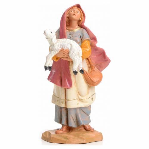 Mujer con cordero en las manos 15cm Fontanini s1