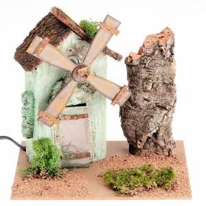 Mulino a vento presepe elettrico base muschio sughero 20x14x18 s1