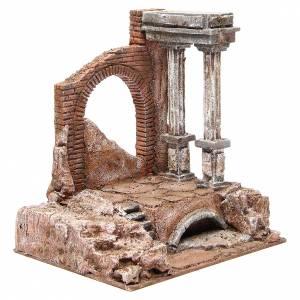 Muro romano antico con 2 colonne ambiente presepe 32x29x22 cm s3