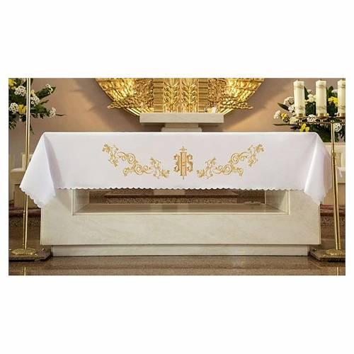 Nappe pour autel 165x300 cm broderies dorées style baroque s1