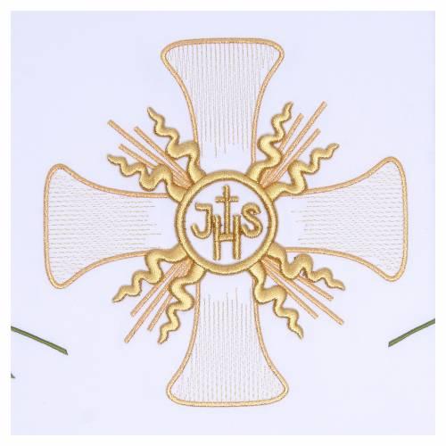 Nappe pour autel 165x300 cm croix centrale et six épis s2