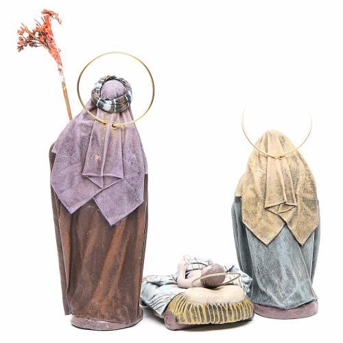 Natividad 6 sujetos en terracota y tela 17 cm s3