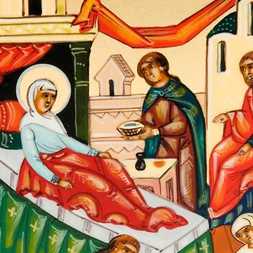 Icona russa Natività di Maria 6x9 dipinta a mano s3