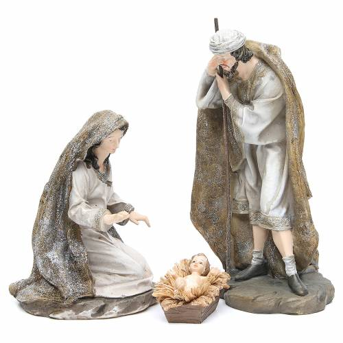 Natività resina 31,5 cm 3 pz fin. Cream Gold s1