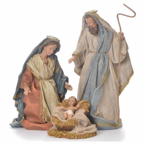 Nativité 33 cm résine vêtements beiges s1